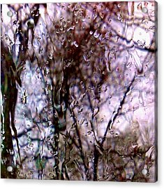 Acrylic Print featuring the photograph Rainscape - Rain On The Window Series 1 Abstract Photo by Marianne Dow