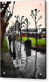 Rainy At The Pier Acrylic Print by Lisa Alex