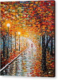 Acrylic Print featuring the painting Rainy Autumn Day Palette Knife Original by Georgeta  Blanaru