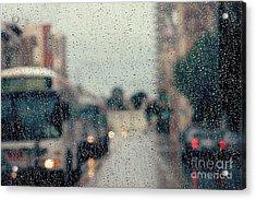 Rainy City Street Acrylic Print by Kim Fearheiley