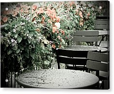 Acrylic Print featuring the photograph Rainy Day At The Cafe by Erin Kohlenberg
