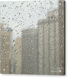 Rainy Day City Acrylic Print by Ann Horn