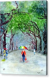 Acrylic Print featuring the painting Rainy Day In Central Park by Tom Riggs