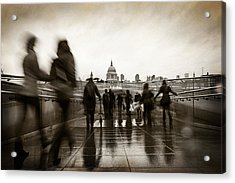 Rainy Day In London With Vintage Filter Acrylic Print