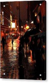 Rainy Day In Soho Acrylic Print by Steve K