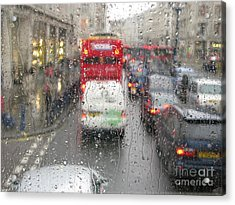 Acrylic Print featuring the photograph Rainy Day London Traffic by Ann Horn