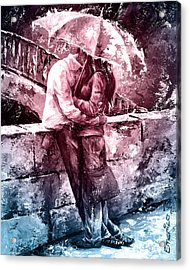 Rainy Day - Love In The Rain #color01 Acrylic Print by Emerico Imre Toth