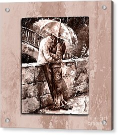 Rainy Day - Love In The Rain Style Mistyrose Acrylic Print by Emerico Imre Toth