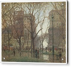 Rainy Day Madison Square New York Acrylic Print by Paul Cornoyer