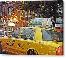 Rainy Day Nyc Acrylic Print by Sarah Loft