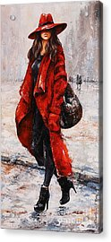Rainy Day - Red And Black #2 Acrylic Print