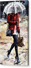 Rainy Day - Woman Of New York 09 Acrylic Print