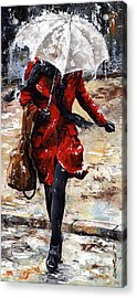 Rainy Day - Woman Of New York 10 Acrylic Print by Emerico Imre Toth