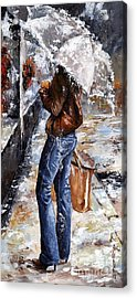 Rainy Day - Woman Of New York 15 Acrylic Print by Emerico Imre Toth