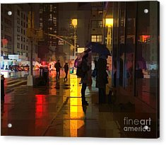 Rainy Night New York Acrylic Print