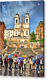 Rainy Spanish Steps Acrylic Print