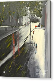 Acrylic Print featuring the painting Rainy Street In Melbourne by Pamela  Meredith