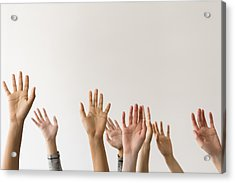 Raised Hands Of Women Acrylic Print by JGI/Jamie Grill