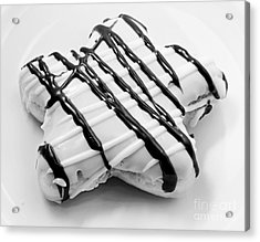 Raised Iced Star Shaped Donut - Chocolate Drizzles - Baker- Bakery - Bw  Acrylic Print by Andee Design