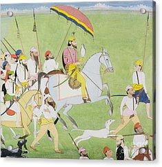 Rajah Dhian Singh Hunting Acrylic Print by Indian School