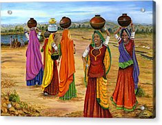 Rajasthani  Women Going Towards A Pond To Fetch Water Acrylic Print by Vidyut Singhal