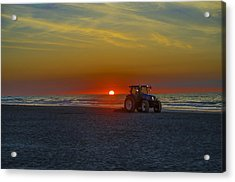 Raking The Beach At Dawn - Avalon New Jersey Acrylic Print by Bill Cannon