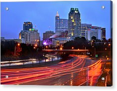 Acrylic Print featuring the photograph Raleigh Skyline At Dusk Evening Color Evening Panorama North Carolina Nc by Jon Holiday