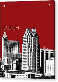 Raleigh Skyline - Dark Red Acrylic Print