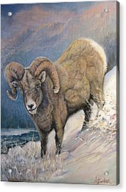 Acrylic Print featuring the painting Ram In The Snow by Donna Tucker