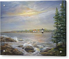 Acrylic Print featuring the painting Ram Island Lighthouse Main by Katalin Luczay