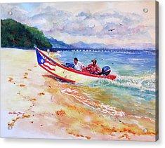 Rampeando At Crashboat Beach Aguadilla Puerto Rico Acrylic Print by Estela Robles Galiano