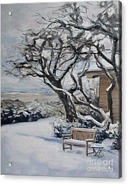 Ranch Bench In Winter Acrylic Print by Lori Pittenger