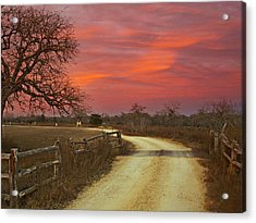 Ranch Under A Blazing Sky Acrylic Print