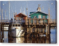 Randys Whale Watching And Fishing Trips Watercolor Acrylic Print by Barbara Snyder