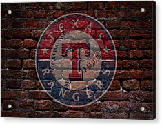 Rangers Baseball Graffiti On Brick  Acrylic Print