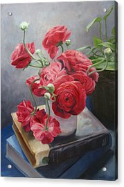 Ranunculus On Books Acrylic Print