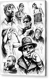 Rap Group Drawing Art Sketch Poster Acrylic Print by Kim Wang
