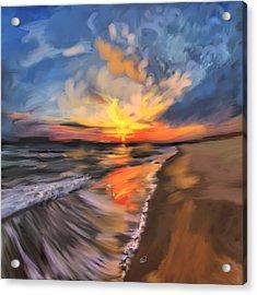 Rare California Sunset Acrylic Print by Angela A Stanton