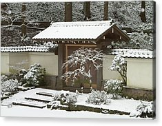 Rare Snow At The Portland Japanese Acrylic Print by William Sutton