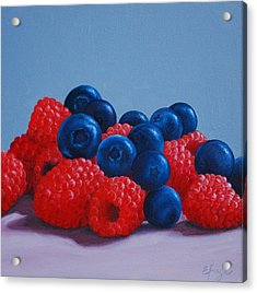 Raspberries And Blueberries Acrylic Print
