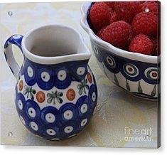 Raspberries With Cream Acrylic Print by Carol Groenen