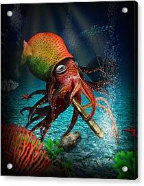 Rasta Squid Acrylic Print by Alessandro Della Pietra