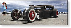 Rat Rod On Route 66 Panoramic Acrylic Print