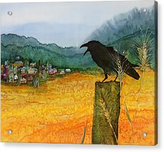 Raven And The Village 2 Acrylic Print by Carolyn Doe