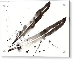 Raven Crow Feathers Acrylic Print by Tiberiu Soos