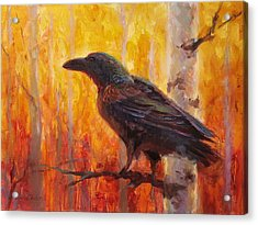 Raven Glow Autumn Forest Of Golden Leaves Acrylic Print