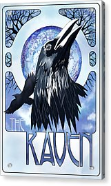 Raven Illustration Acrylic Print by Sassan Filsoof