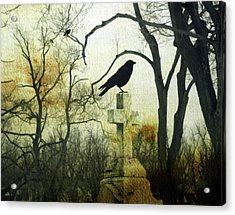 Raven On Cross Acrylic Print by Gothicrow Images