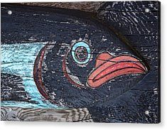 Raven Totem Figure Acrylic Print by Carol Leigh
