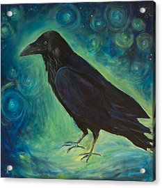 Acrylic Print featuring the painting Space Raven by Yulia Kazansky
